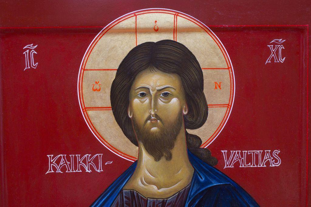 Yksityiskohta ikonista Kristus Kaikkivaltias - Kristus Pantokrator 2012 Ikonimaalari Vesa Fabrin.