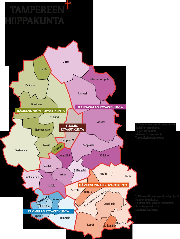 Tampereen hiippakunnan kartta 2020 alkaen