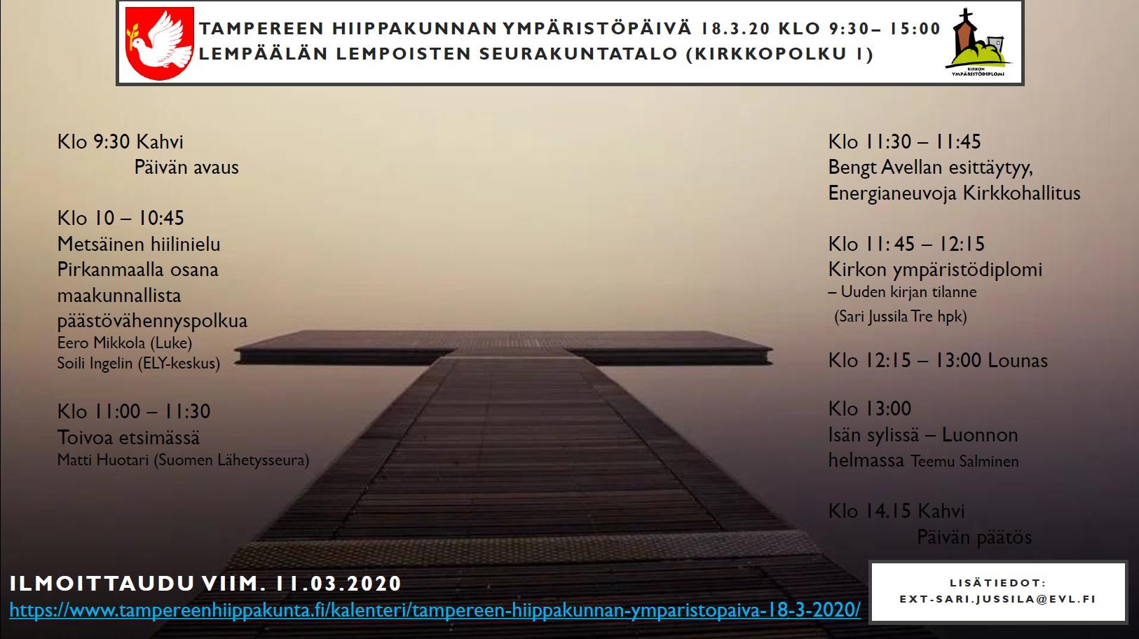 Ympäristöpäivän esite, jossa kuva laiturista ja utuisesta järvestä sekä tekstinä päivän ohjelma ja ohjeita.